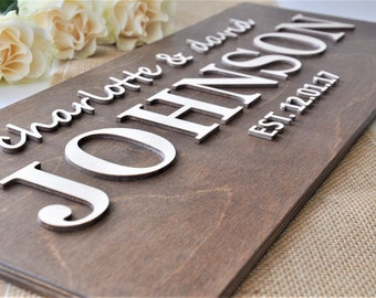 Family Name Sign 3D / Wedding Last Name Sign / Wedding Established Sign / Custom Family Name Sign