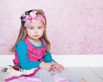 Crochet Head wrap, Black Chevron Head wrap, Pink polka Dot Hair bow, Birthday hair bows, Stalked Hair Bow