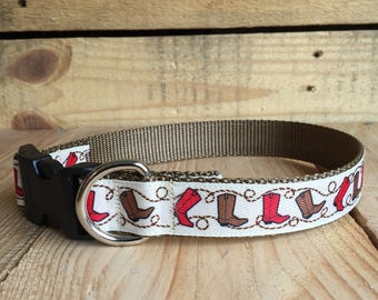 "Cowboy boot dog collar, cowboy dog collar, Quick Release Buckle, 1"" width"
