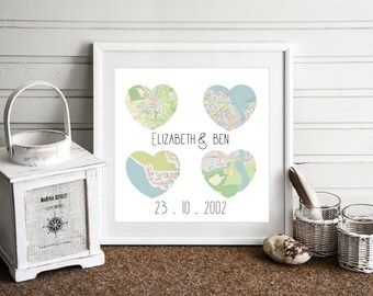 Map art print, love map, Map gift, map art, map print, Map Engagement gift, engagement map gift, Map Engagement gifts for couples