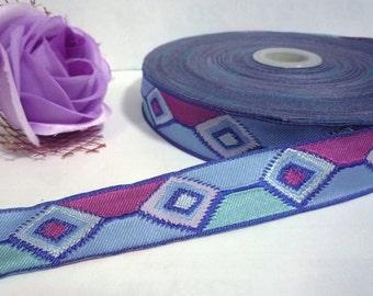 5 yds - 10 yds Blue Tone Rhombus Pattern Woven Jacquard Ribbon Trim Clothing DIY 1 inch / 25mm width L683