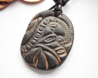 Celtic cord necklace, polymer clay pendant for him, mens pendant, mens cord necklace,