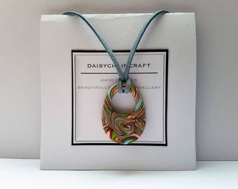 Abstract Art Pendant Necklace in Polymer Clay by daisychaincraft