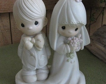 Precious Moments The Lord Bless You and Keep You Wedding Figurine Cedar Tree 1987 Cake Topper or Wedding Gift Bride and Groom Figurine