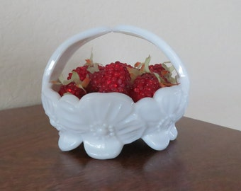 Vintage, Milk Glass decorative basket-free shipping USA