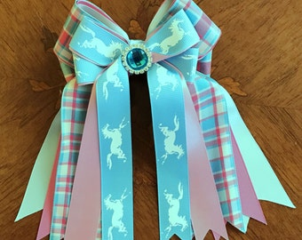 Hair bows for horse shows/beautiful hair accessory/turquoise blue pink/sparkle gem