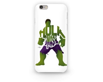 "The Incredible Hulk Phone Case Typography Design from the Marvel Universe with his Phrase, ""Hulk Smash"" Green and Purple i-Phone Case"
