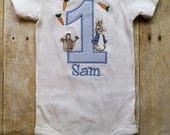 Peter Rabbit Seersucker First Birthday Shirt Bodysuit / Toddler Shirt Beatrix Potter Shirt