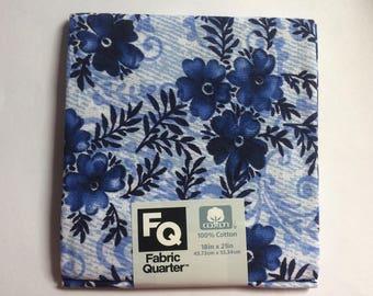 Fabric Quarters Blue Floral 100% Cotton