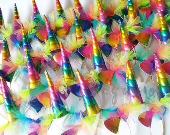 Rainbow Unicorn Party Pack - Rainbow Unicorn Headbands - Rainbow Unicorn Horns - 20% off