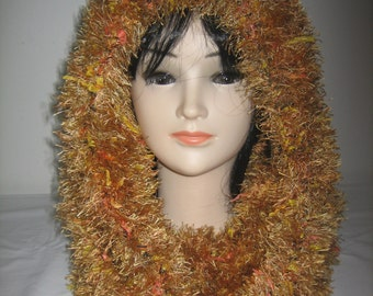 Snood neck hooded wool hairy fantasy