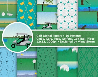 Golf Digital Paper Golf Course Patterns Printable Golfing Papers Digital Golfing Backgrounds Sports Party Paper Golf Birthday Scrapbooking