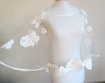 Transparent Cape for embroidered wedding dress