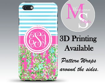 Monogram iPhone Case Personalized Phone Case. Lilly Pulitzer Inspired Monogrammed iPhone 4, 4S iPhone 5, 5S, 5C, 5SE, iPhone 6, 7 Plus #2798