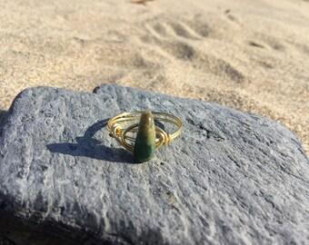 Size P Fancy Jasper Gemstone wire wrapped ring