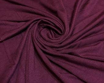 WINE Rayon Spandex Jersey Knit Fabric, 4 Way Stretch, Four Way, BTY By The Yard