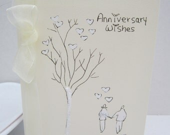 Anniversary Card, handpainted card, wife anniversary card, husband anniversary card, daughter card, son card, can be personalised, handmade