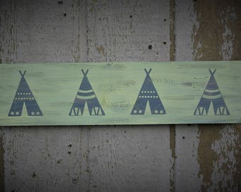 Tribal Decor Nursery Signs Rustic wood decor grey yellow accents baby shower gender neutral room decor tee pee signs indian decor aztec sign