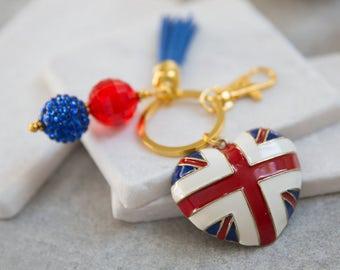 Union Jack Key Chain, British Flag Key Chain, UK Key Chain, Union Flag, British Flag, UK Gift, British Gift