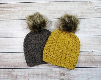 Baby Girl Hat, Baby Girl Beanie, Slouchy Baby Hat, Baby Photo Shoot, Baby Boy Hat, Knit Baby Girl Hat, Faux Fur PomPom Hat, Pom Pom Hat