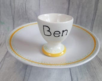 Personalised Breakfast set Plate Egg Cup