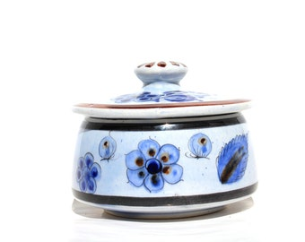 Mexican Sugar Bowl , Cat Signed Pottery , Tonala Art Ceramics , Mexican Pottery , Hand Painted Mexico Tonala Dishes , Folk Ken Edwards Art