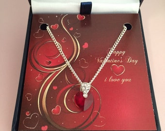 Valentines Necklace With Red Crystal Heart in Gift Box.