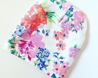 Spring flowers print baby beanie