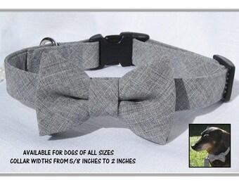 Light Grey Bow Tie Collar~Wedding Dog Collar~Bow Tie Dog Collar~Removable Bow Tie~Black Side Release Buckle~Optional Matching Leash