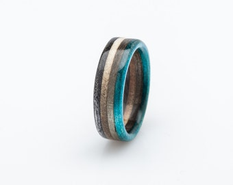 Recycled Skateboard Ring, Wooden Ring, Wedding Ring, Recycled Ring, Upcycled Ring Waterproof