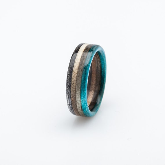 Recycled Skateboard Ring Wooden Ring Wedding Ring Recycled