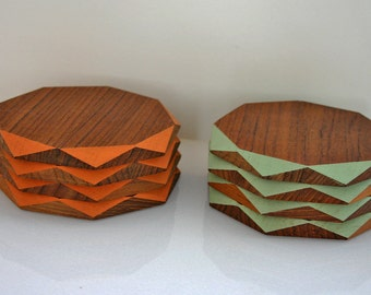 Geometric Recycled Teak Coasters