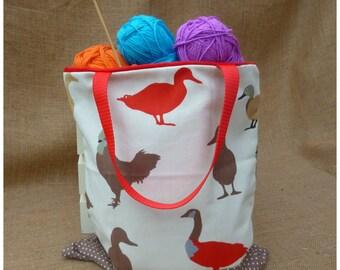Ducks Tote Bag, Chickens Shopping Bag, Knitting Bag, Shopper Bag, Crochet Bag, Chickens Tote, Linen Tote Bag, Reusable Shopping Bag