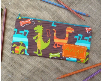 Dinosaur Pencil Case, Dinosaur Pencil Pouch, Personalised Pencil Case, Gift for Boys, Kids Pencil Case, Back to School, Pencil Pouch