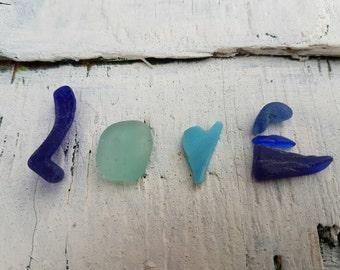 LOVE ~ SEA GLASS ~ English Beach Glass ~ Blue Shades ~ Cobalt Blue ~ Milk Glass Heart ~ Valentine's Day ~ Beach Wedding