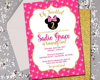 Minnie Mouse Invitation, Minnie Mouse Birthday Invitation, Oh Twodles, Birthday Invitation, Pink and Gold, Minnie, Disney, Printable 5x7
