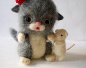 felt kitten, felt mouse, eco toy, nursery decor