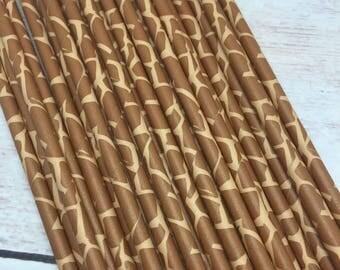 25pc Giraffe Animal Print Paper Straws