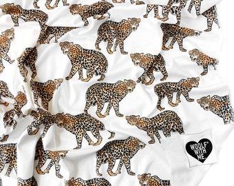 Organic Swaddle Blanket Leopard, Safari Bedding, Safari Blanket, Newborn Blanket, Stroller Cover, Sun Shade, Modern Swaddle, Gender Neutral