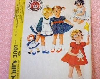 Vintage McCalls Sewing Pattern #3001, Size 1/2, UNCUT