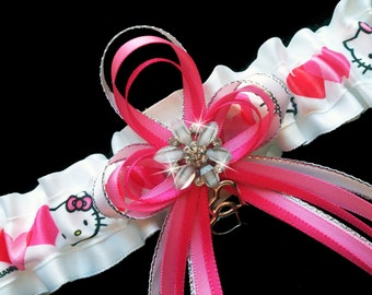 Super Cute Hello Kitty White and Pink Satin Garter Belt With Rhinestone Flower and Double Heart Charm For Wedding Prom Bridal Lingerie