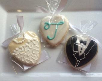 Bride and Groom heart cookies - One dozen