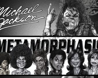 "Michael Jackson ""Metamorphosis"" Poster Caricature Limited Edition Art Print"