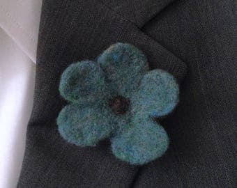 Teal Flower Boutonniere, Needle Felted -   Free U.S. Shipping