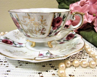 Teacup Coffee Tea Fine Bone China Porcelain Trimont Ware Pink Rose Gold blm
