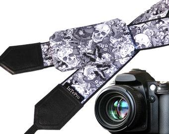 Sugar skulls camera strap with pocket. Skulls. Roses. Carps. Black and white. Grey. DSLR camera strap. Teens gift. Personalized camera strap