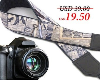 Camera strap newspaper. DSLR camera strap vintage. Text and feather. Gray DSLR / SLR Camera Strap. Camera accessories by InTePro