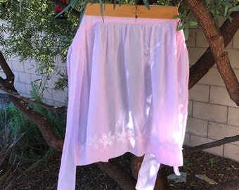 Free Shipping! Vintage Handmade Pink Cotton Apron with Lace