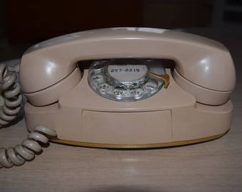 """Western Electric Bell System """"The Princess Phone"""" Model 701 Rotary Dial Warm Beige 1960"""
