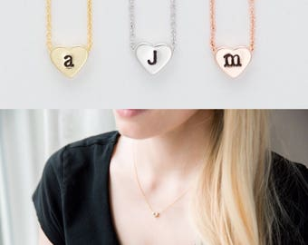 Tiny Gold Initial Necklace / Personalized Heart Pendant Necklace / Rose Gold Initial / Silver Initial / Hand Stamped / Bridesmaid Gift